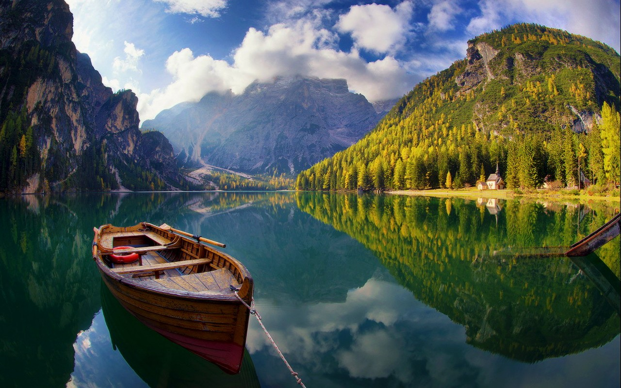 lakes-sunny-lake-braies-serenity-tranquility-crystal-boat-clear-forest-mountain-calmness-sky-summer-italy-trees-beautiful-reflection-lovely-dolomites-clouds-view-shore-wallpaper-